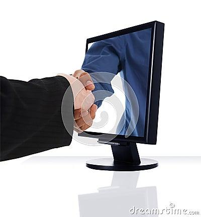 Free Monitor Handshake Stock Image - 5049231