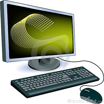 Monitor with keyboard and mouse