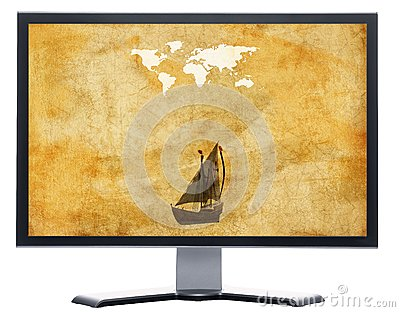 Monitor with old world map on grunge retro paper