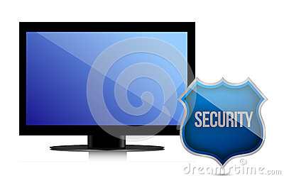 Monitor with security shield illustration design