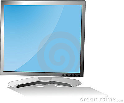 The monitor with a shade on a white background