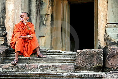 Monk at Angkor Wat Editorial Photography