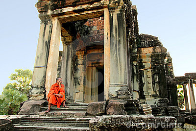 Monk at Angkor Wat Editorial Photo