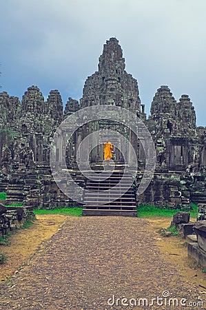 Monk at  Angkor Wat Editorial Photo