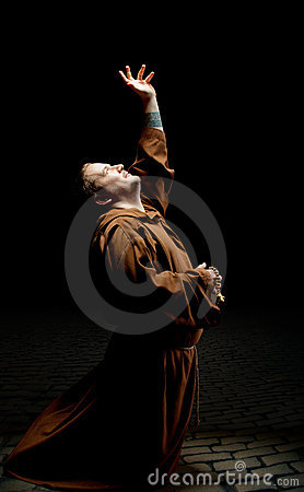 Monk asking God for help