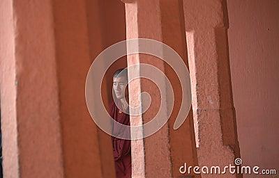 A monk at Bodh Gaya Editorial Stock Image