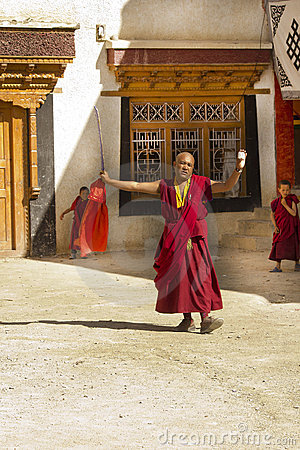 Monk Dancing and Praying in Lamayuru, ladakh Editorial Stock Photo