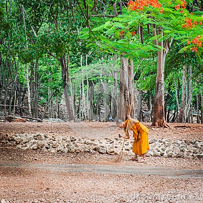 Monk doing daily cleaning routine at at the Tiger Temple in Kanchanaburi, Thailand. Editorial Stock Photo
