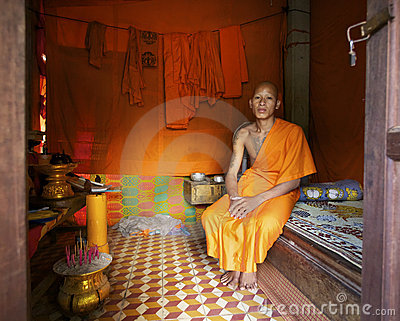 Monk at home in Cambodia Editorial Image