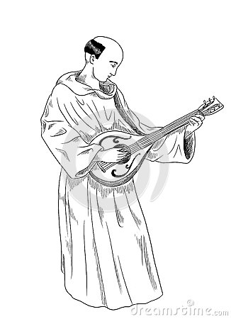 Monk playing lute