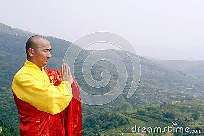 The monk in praying