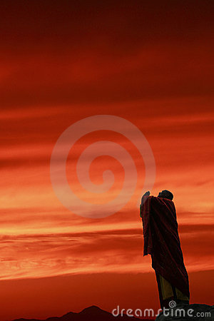 The monk in praying to sky.