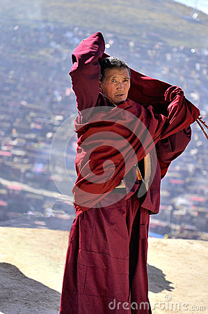 A monk was whorshiping Editorial Stock Photo