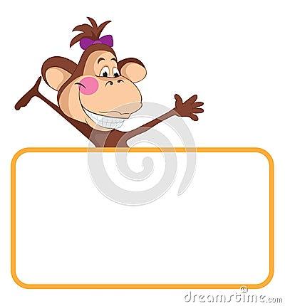 Monkey. Baby animal banner