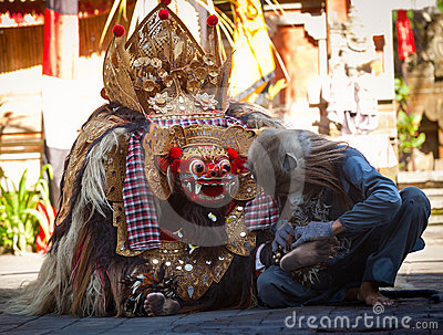 Monkey and Barong Editorial Stock Image