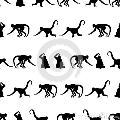 Free Monkey Black Shadows Silhouette In Lines Pattern Stock Photos - 64638053