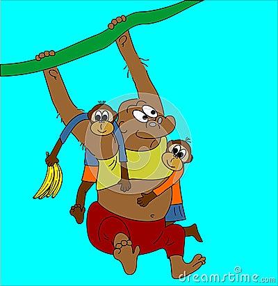 Monkey and children