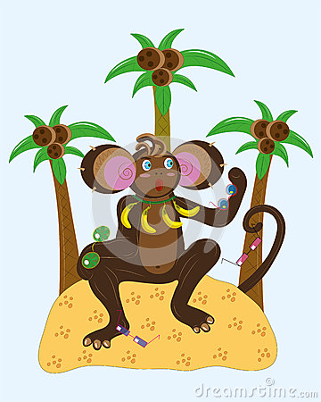 Monkey and different sunglasses.