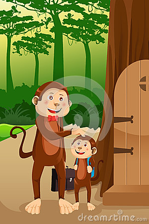 Free Monkey Father With His Child Royalty Free Stock Images - 32722399