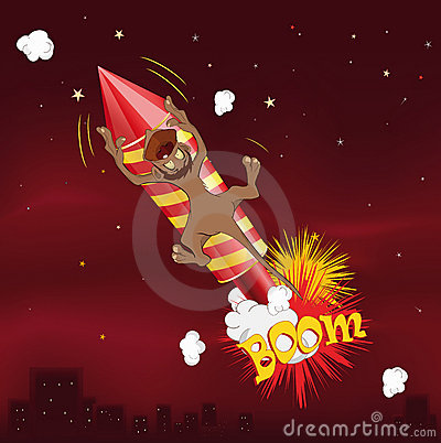 Monkey flying on fireworks