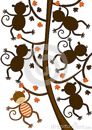 Free Monkey Hanging On Tree Silhouette Shape Game Stock Photography - 30818202