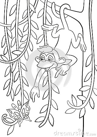 coloring pages little cute monkey is hanging on the tree branch in the forest smiling and poingting somethere