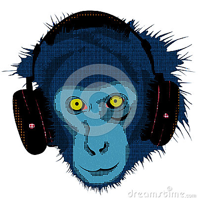 Monkey with headset