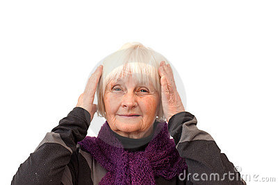 Monkey hear no evil - Older woman on white