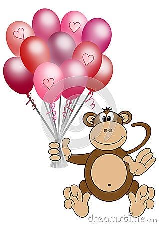 Monkey holding heart balloons