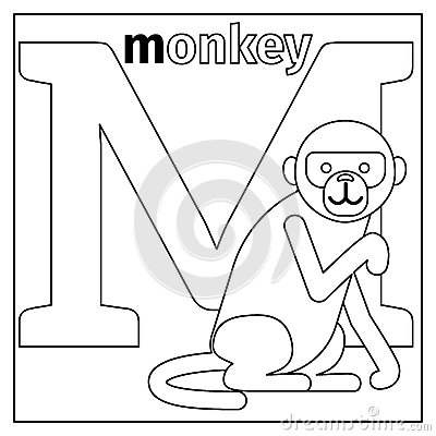 Monkey, Letter M Coloring Page Stock Vector - Image: 79426522
