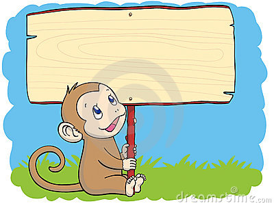 Monkey with the placard