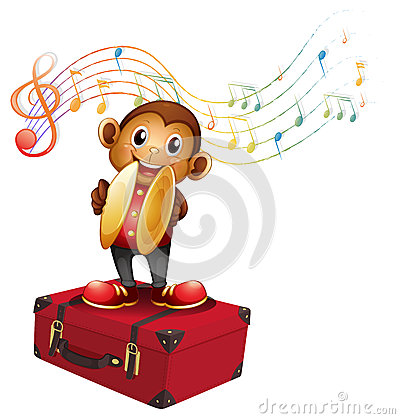 A monkey playing cymbals above an attache case