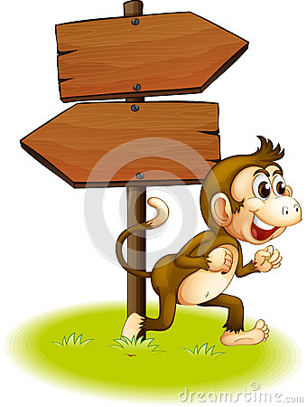 A monkey running beside the empty arrowboards
