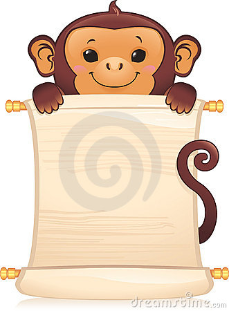 Monkey with scroll
