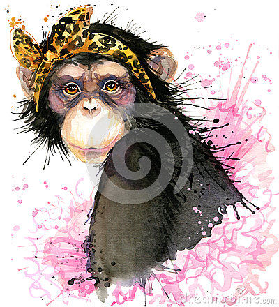 Free Monkey T-shirt Graphics, Monkey Chimpanzee Illustration With Splash Watercolor Textured Background. Royalty Free Stock Photos - 62940958