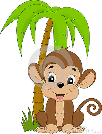 Monkey under palmtree