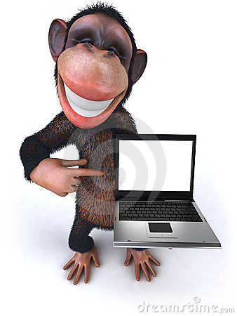 Free Monkey With A Laptop Royalty Free Stock Images - 8586939