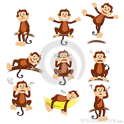 Free Monkey With Different Expression Stock Photo - 30886910
