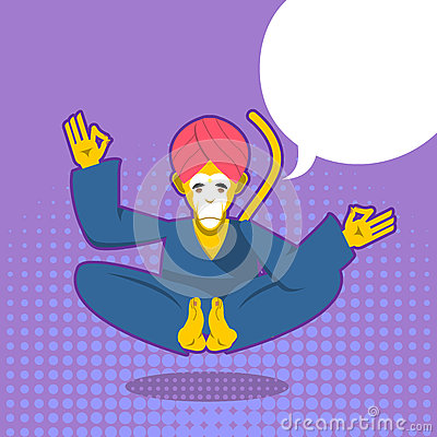 Free Monkey Yoga. Monkey Yogi Meditates. Yogi In Pop Art Style. Yello Royalty Free Stock Photo - 69168705