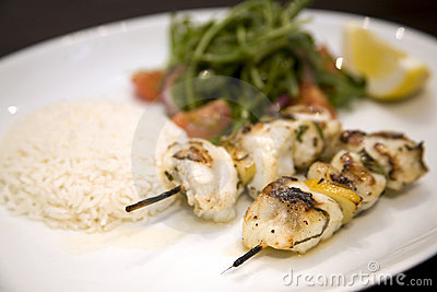Monkfish skewers with Basmati rice