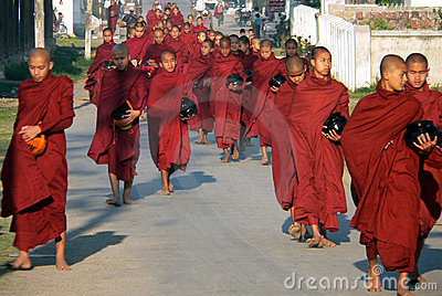 Monks Alms Collecting. Myanmar Editorial Stock Image