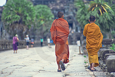 Monks at  Angkor Wat Editorial Photo