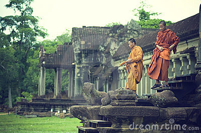 Monks at  Angkor Wat Editorial Stock Photo