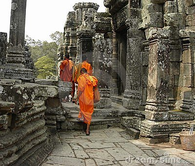 Monks at The Bayon Temple