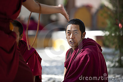 Monks debating, Lhasa, Tibet Editorial Image