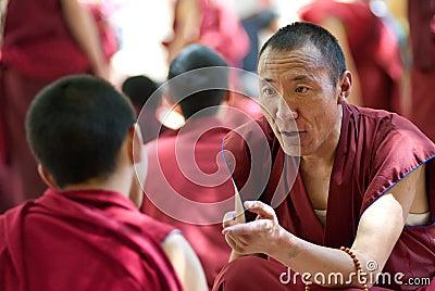Monks debating in Sera Monastery, Tibet Editorial Photography