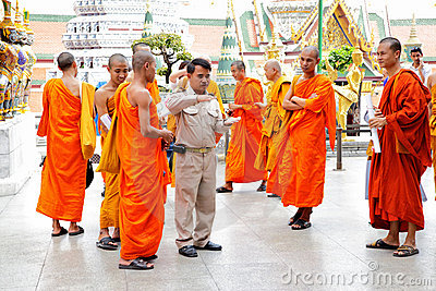 Monks on excursion Editorial Stock Image
