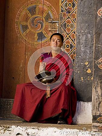 Monks rehearsing for the Jakar tsechu (Festival) Editorial Photo