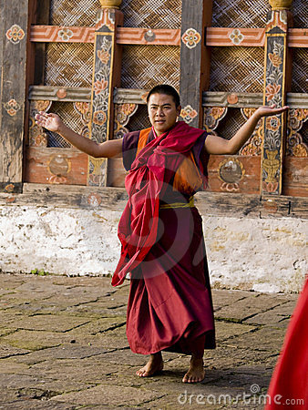 Monks rehearsing for the Jakar tsechu (Festival) Editorial Photography