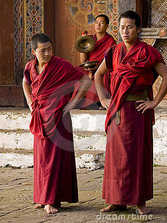 Monks rehearsing for the Jakar tsechu (Festival) Editorial Image